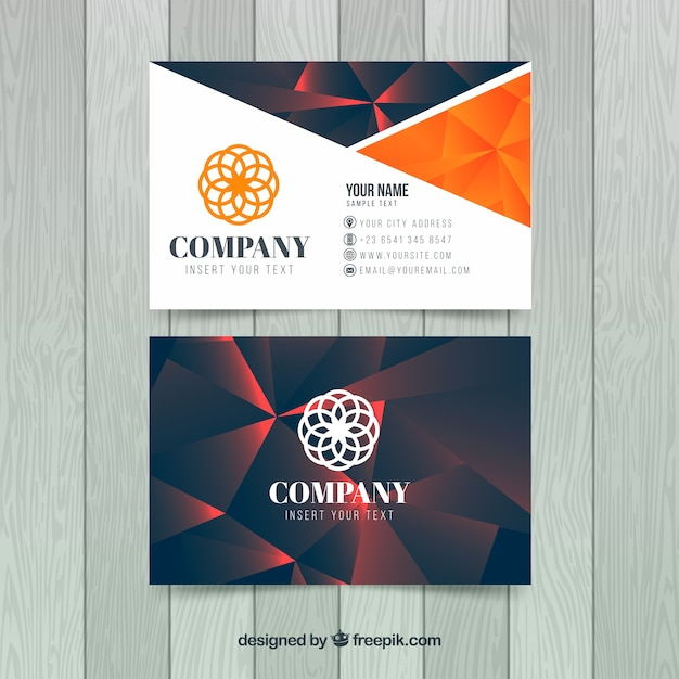 Geometric background business card Free Vector