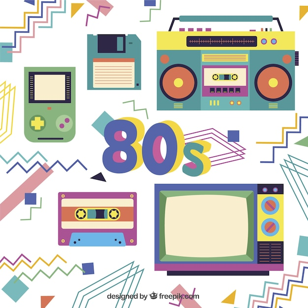 Geometric background of eighties objects Free Vector
