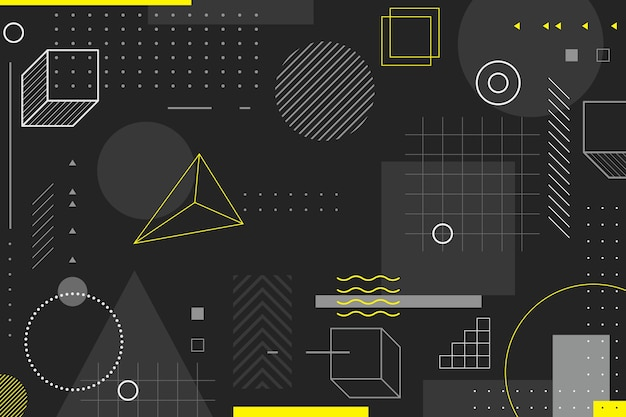 Geometric background in memphis style Free Vector