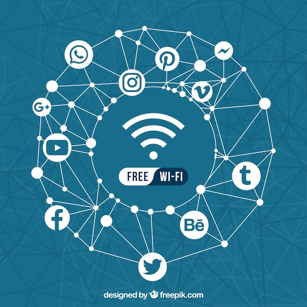 Geometric background of social networks and free wifi Free Vector