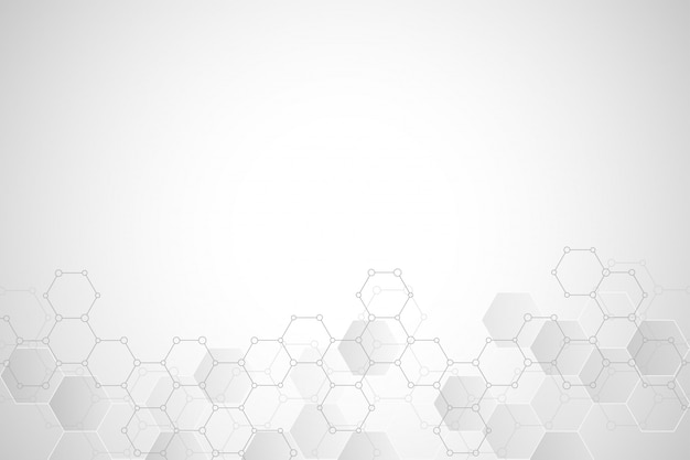Geometric background texture with molecular structures and chemical compounds Premium Vector