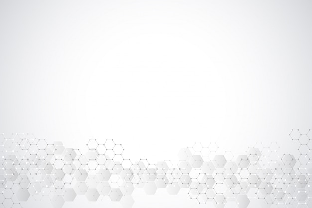 Geometric background texture with molecular structures and chemical engineering. abstract background of hexagons pattern. Premium Vector