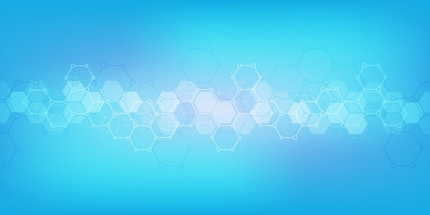 Geometric background texture with molecular structures and chemical engineering Premium Vector