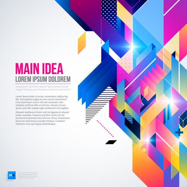 Geometric background with bright colors and abstract style Free Vector