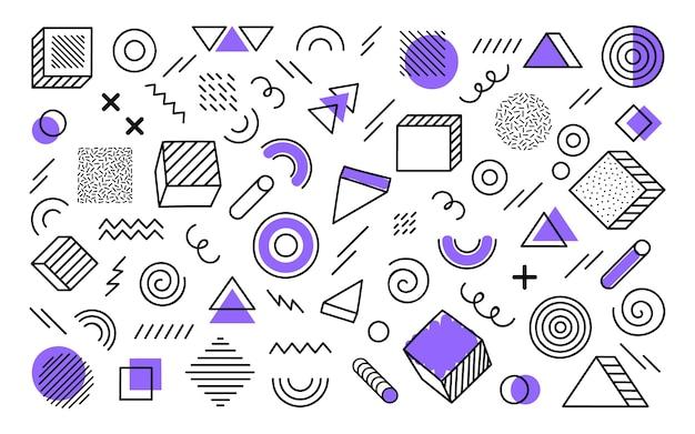 別の手で幾何学的な背景には、抽象的な形が描かれています。紫の要素を持つ普遍的なトレンドハーフトーンの幾何学的図形。モダンなイラスト。 Premiumベクター