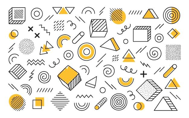 別の手で幾何学的な背景には、抽象的な形が描かれています。黄色の要素を持つ普遍的なトレンドハーフトーンの幾何学的図形。モダンなイラスト。 Premiumベクター