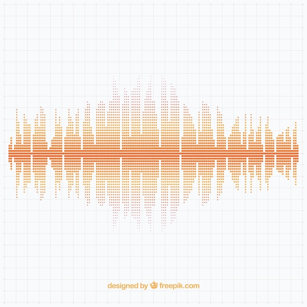 Geometric background with dotted sound wave Free Vector