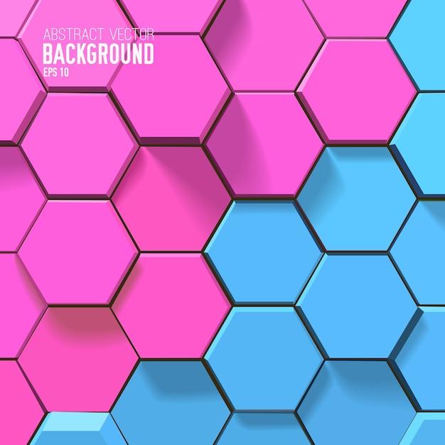 ピンクとブルーの六角形の幾何学的な背景 無料ベクター
