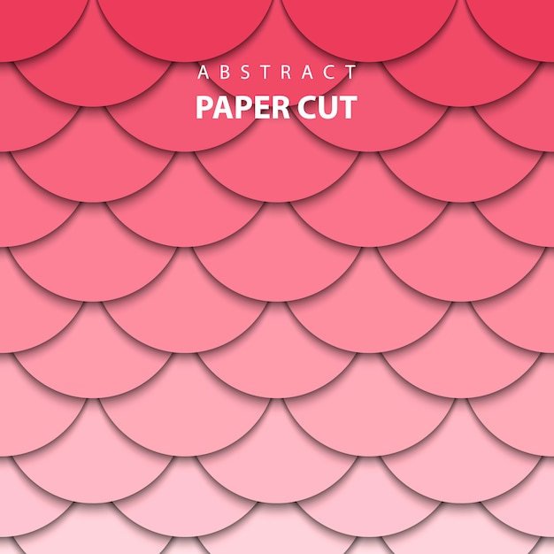 Geometric background with red and pink paper cut Premium Vector