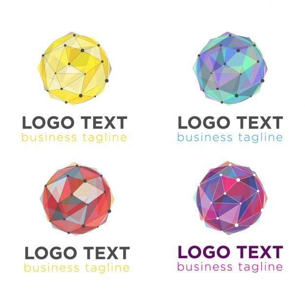 Geometric ball logos pack Free Vector