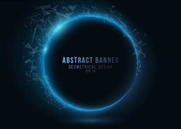 暗い背景に輝く三角形神経叢の幾何学的なバナー。青い光る接続三角形要素。プロジェクトの科学的背景。 Premiumベクター