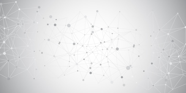 Geometric banner with connecting lines and dots design Free Vector