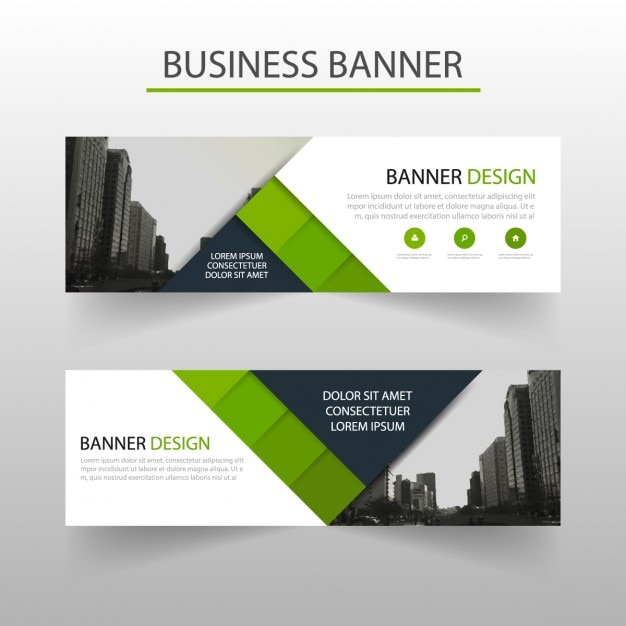 Geometric banner with green squares Free Vector
