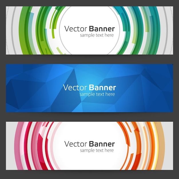 Геометрический баннер с круглыми и многоугольниками абстрактными Premium векторы