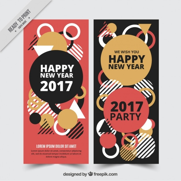 Geometric banners for happy new year