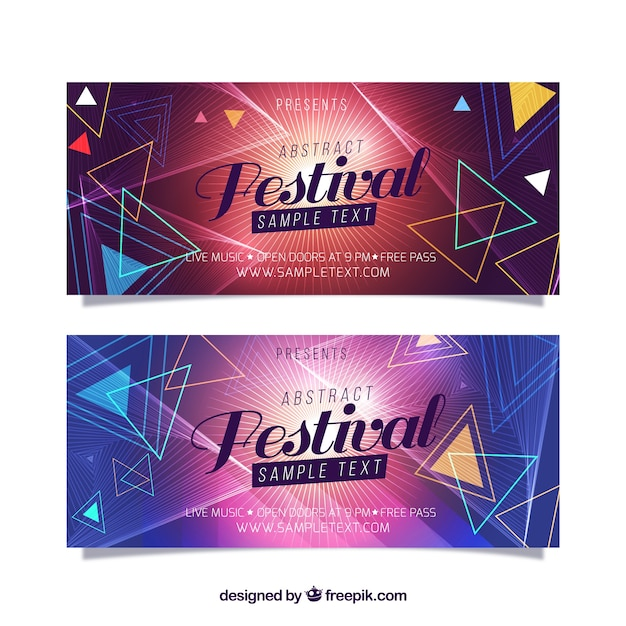 Geometric banners of music festival Free Vector