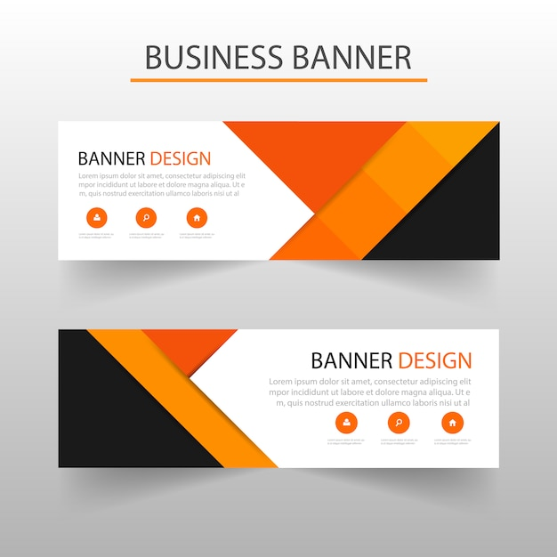 Geometric banners template with orange shapes Vector | Free Download