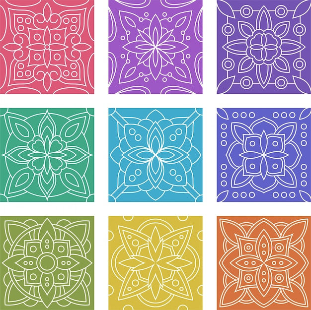 幾何学的なバティックタイルシームレスパターンコレクションセット Premiumベクター