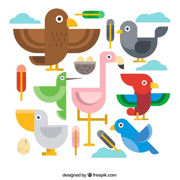 Geometric birds in flat design Free Vector