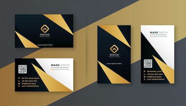 幾何学的なブラックとゴールドのプロフェッショナルな名刺デザイン 無料ベクター
