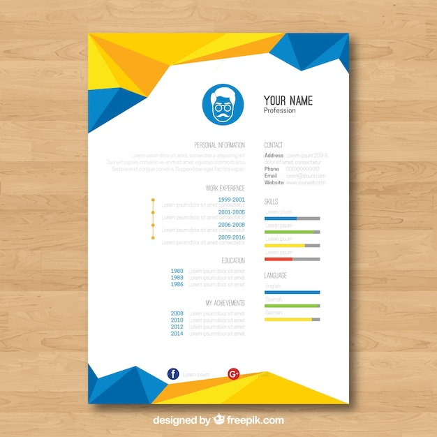 geometric blue and yellow resume template vector