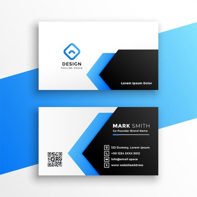 Geometric blue business card modern template Free Vector