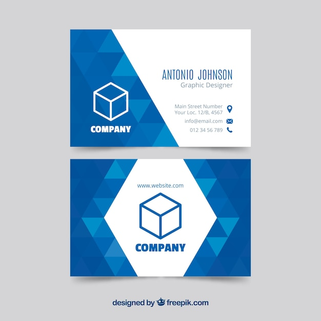 Geometric blue business card template vector free download geometric blue business card template free vector cheaphphosting