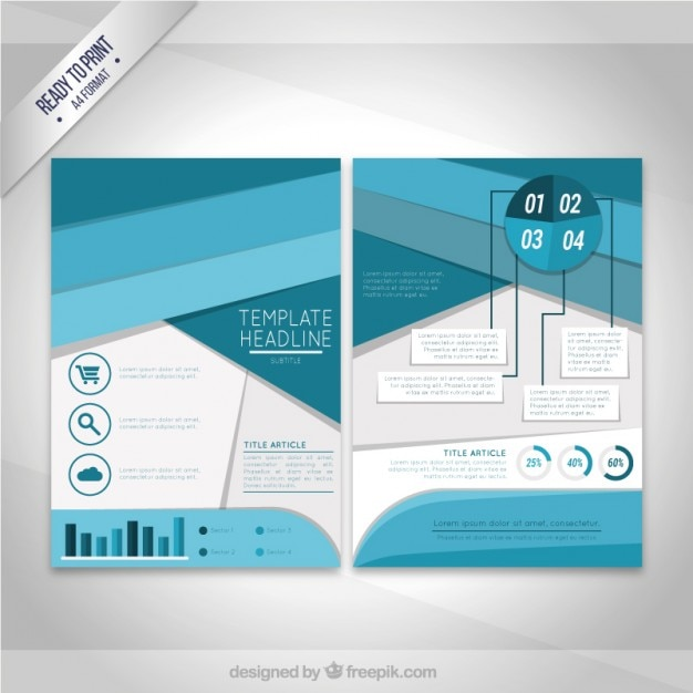 Geometric blue flyer template Vector – Blue Flyer Template