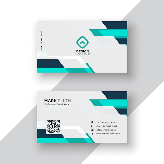 Geometric blue modern business card design Free Vector