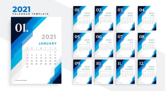 Геометрический синий шаблон дизайна календаря новый год 2021 Бесплатные векторы