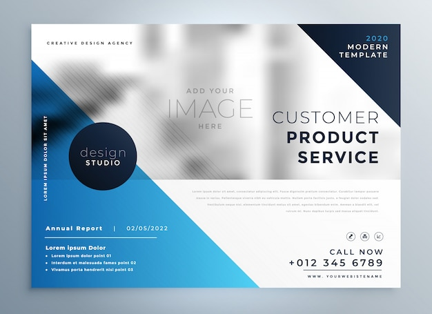 Geometric blue professional brochure design template Free Vector
