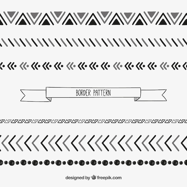 geometric border pattern in sketchy style vector premium