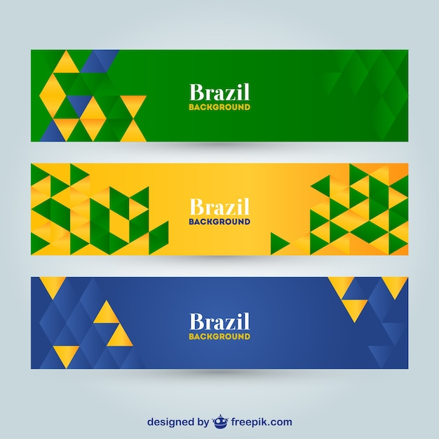 Geometric Brazil banners Free Vector