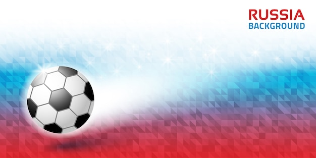 Geometric bright abstract horizontal background. russia 2018 flag colors. soccer ball icon. Premium Vector