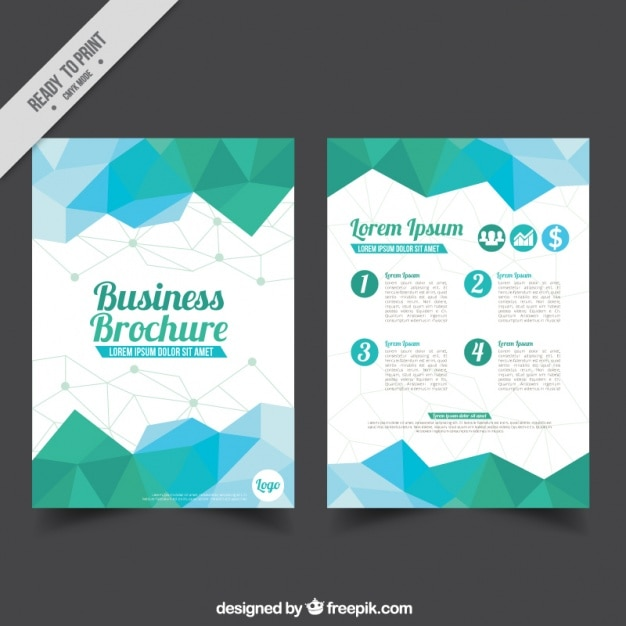 Geometric brochure with blue and green polygons for business