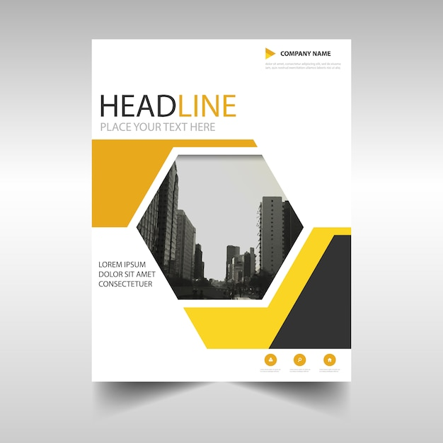Geometric brochure, yellow color Free Vector