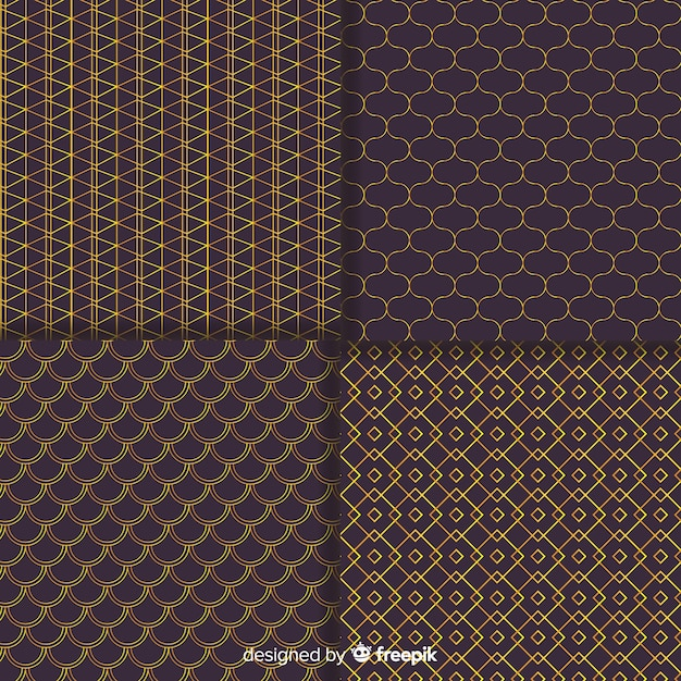 Geometric brown luxury pattern collection Free Vector