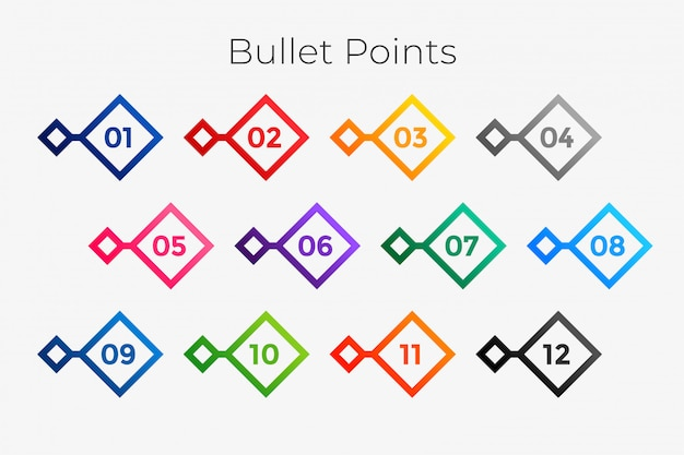 Geometric bullet points numbers from one to twelve Free Vector