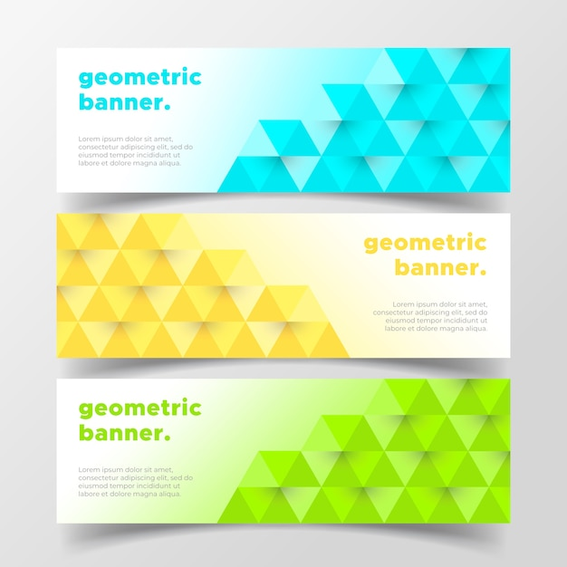 Geometric business banners Free Vector