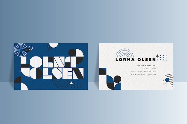 Geometric business card on classic blue color Free Vector