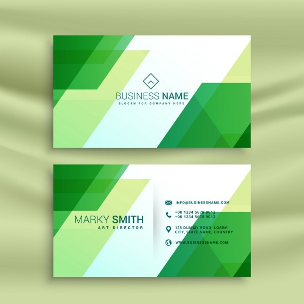 Geometric business card, green color