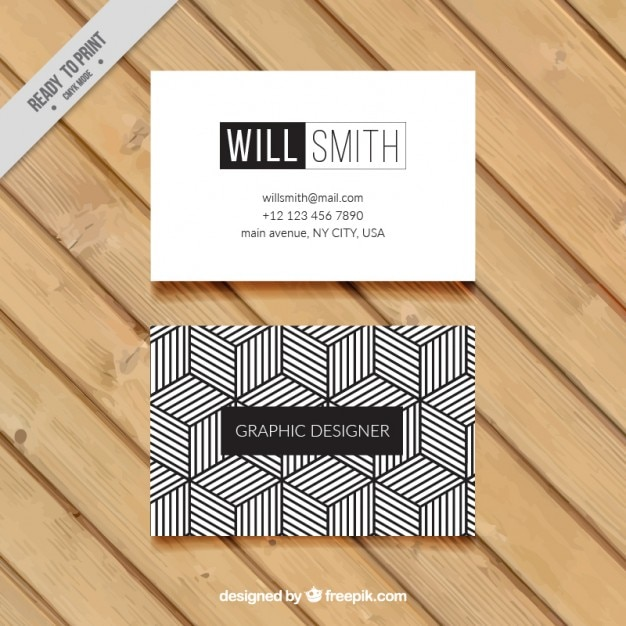 Geometric business card in black and white Premium Vector