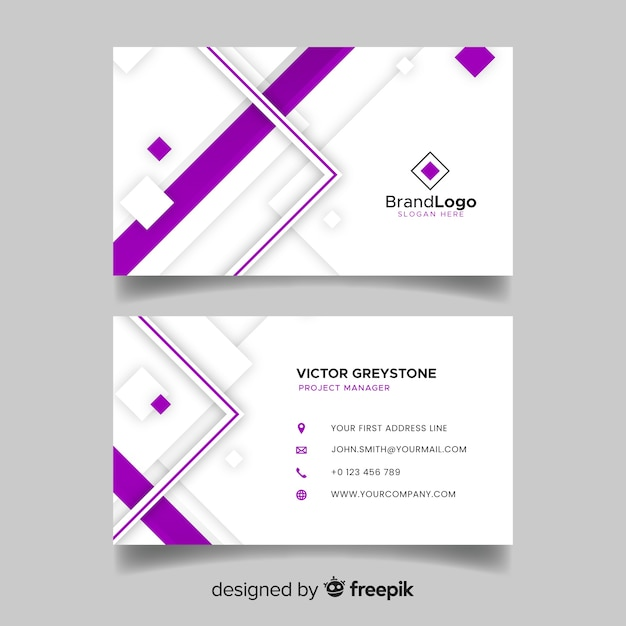 Geometric business card template in abstract style Free Vector
