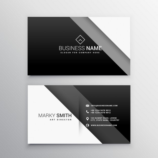 Geometric business card with black bands Free Vector