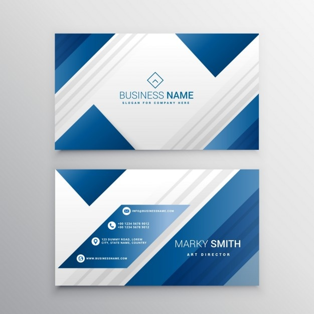 Geometric business card with blue shapes vector free for Business cards shapes