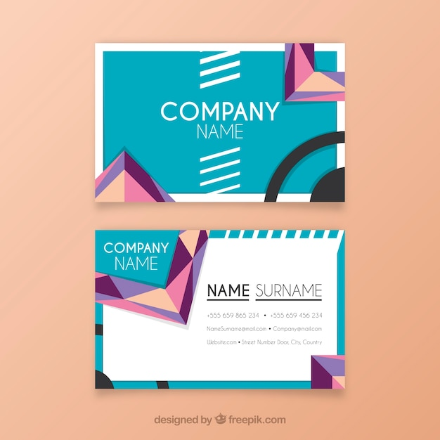 Geometric business card with fun style vector free download geometric business card with fun style free vector colourmoves