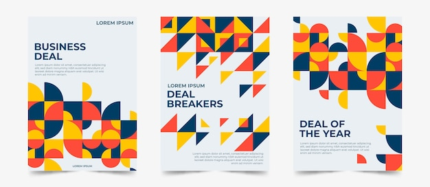 Geometric business cover collection Free Vector