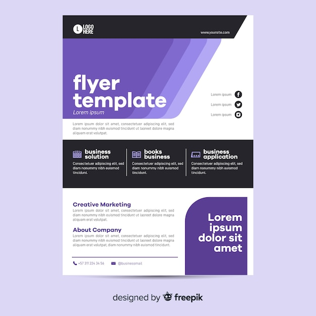 Geometric business flyer template flat design Free Vector