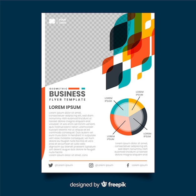 Geometric business flyer template Free Vector