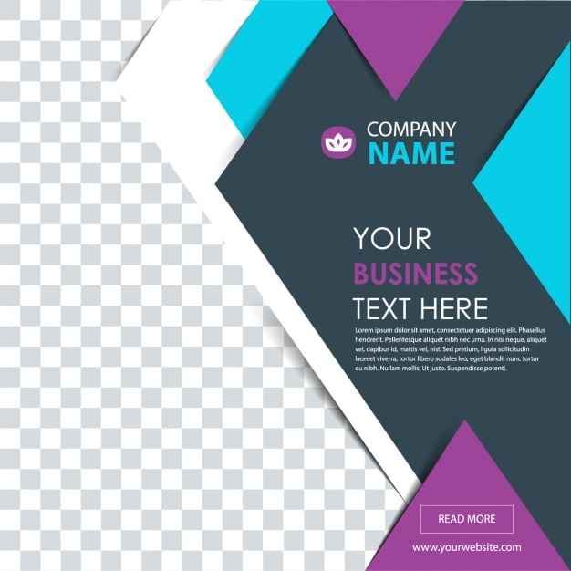 Geometric business flyer with purple details Free Vector